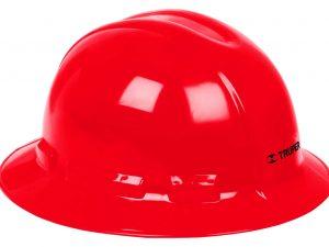 Casco de seguridad, rojo, ala ancha