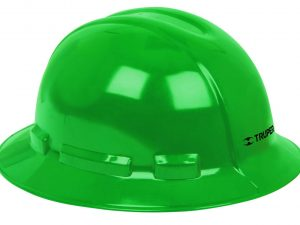 Casco de seguridad, verde, ala ancha