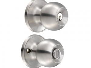 Cerradura de pomo (bola) para recámara, acero inox.  Lock