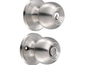 Cerradura de pomo (bola) para baño, acero inoxidable  Lock