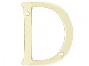 """Letra D slim 4"""" latón brillante Lock"""