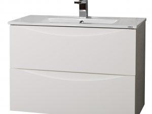 Gabinete suspendido doble cajón con lavabo cerámico